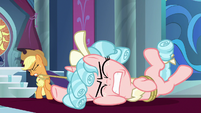Applejack drags Cozy Glow to the ground S9E24