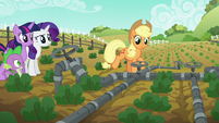 Applejack trots up to first irrigation valve S6E10