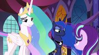 Celestia and Luna listen to Starlight Glimmer S7E10