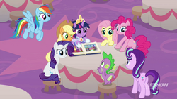 Mane Six, Starlight, and Spike after the coronation MLPCS6.png