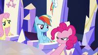 Pinkie inspects Rainbow's cutie mark S5E22