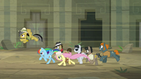 Ponies dashing madly for the exit S9E21