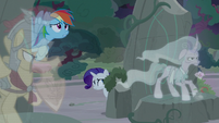 Rainbow and Rarity hide behind Flash and Mistmane S7E25