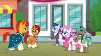 Stellar Flare and ponies grinning at Sunburst S8E8
