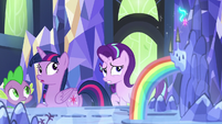 Twilight, Starlight, and Spike look back at the map S7E10