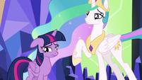 Twilight and Celestia looking sad S7E1