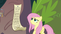 Fluttershy looking up in the trees S9E18