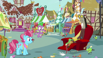 Spike, Discord, and Mrs. Cake look at living apples S9E23