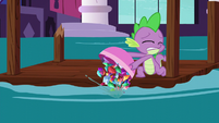 Spike dumps gems out of the bowl S5E10