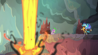Spike saves Rarity from lava geyser S6E5
