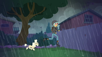 Sunset Shimmer being chased by a poodle SS6