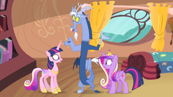 Twilight with Cadance's mane and Cadance with Twilight's mane S4E11.png