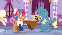 Applejack dizzy and wrapped in fabric S7E9