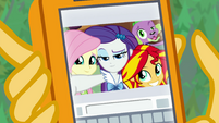 Photo of Fluttershy, Rarity, and Sunset on Sunset's phone EGFF