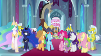 Ponies looking back at Cozy Glow S9E24