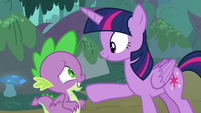 Spike tearfully smiling at Twilight S8E11