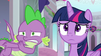 Spike whispering to Twilight Sparkle S9E3