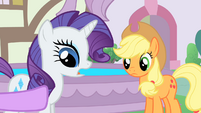 The ponies talking near the fountain S1E22