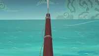 The ship starts to sail into choppy waters S6E22
