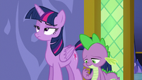 Twilight Sparkle rolls her eyes at Spike S6E22