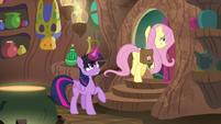 Twilight opens Zecora's door for Fluttershy S7E20