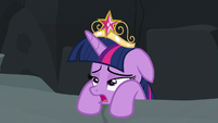 Twilight pulling herself out of the crater S7E26