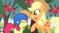 Applejack puts helmet on Apple Bloom again S4E17