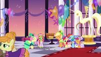 Fluttershy, Tree Hugger, and friends mingling S5E7