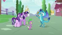 Princess Ember asks Spike to back up her claim S7E15