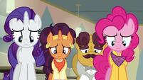 Rarity, Saffron, Coriander, and Pinkie feeling ashamed S6E12