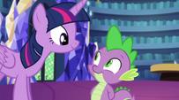 Twilight allows Spike to accompany her EG2