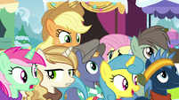 Applejack unable to see over the crowd MLPBGE