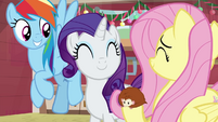 Dash, Rarity, and Fluttershy smiling together BGES3