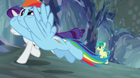 Rarity and Rainbow take off down the tunnel S8E22