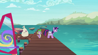 Twilight and Spike back at the docks S9E5