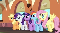 Applejack, Rarity, Twilight, Rainbow and Fluttershy looking forward to the MMM S2E24