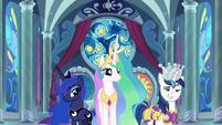 Celestia, Luna, and Shining Armor appear S9E4