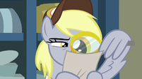 Derpy looks through magnifying glass MLPBGE