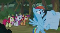 Rainbow Dash holding the map S9E13