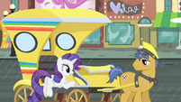 Rarity getting on the cab S4E08