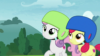 Sweetie and Apple Bloom look up at Scootaloo S7E6