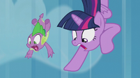 Twilight and Spike falling out of the sky S5E25
