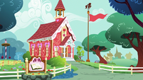 Exterior view of Ponyville Schoolhouse S8E12