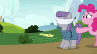 Pinkie Pie pushing a blindfolded Maud S7E4