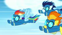 Rainbow Dash, Spitfire, and Soarin racing S8E18