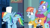 Rainbow Dash bangs her head against locker shelf S7E7