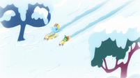 Rainbow and Tank sledding together S5E5