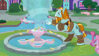 Rockhoof diverting the fountain water S8E21