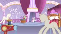 Sweetie Belle entering Rarity's bedroom S4E19