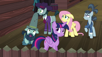 Twilight, Fluttershy, and McColts see tomatoes rain down S5E23